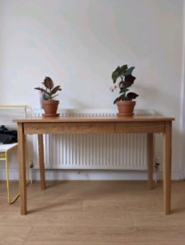 Muji Solid Oak Desk with Drawers and Hook