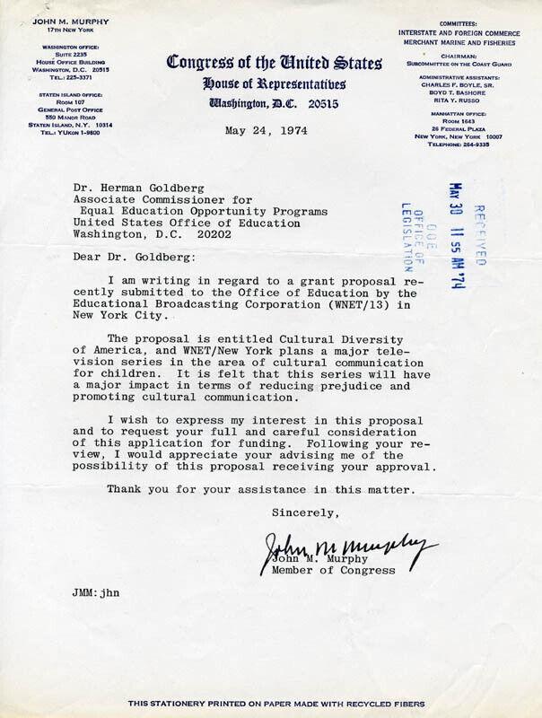JOHN M. MURPHY - TYPED LETTER SIGNED 05/24/1974