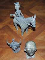 3 'Bronze' metal figures (Horse with rider & two heads)