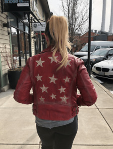 Women's Mauritius red leather jacket with stars... medium