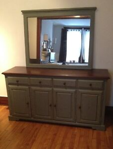 Antique Reproduction Solid Pine Server / Buffet and Mirror
