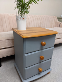 Grey chest of drawers, desk/ console/ dressing table, bedside table
