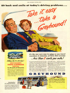 Large 1953 color magazine ad for Greyhound Bus Lines