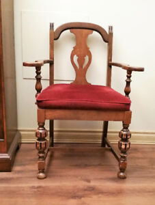 Vintage Dining Wooden Arm Chair With Upholstered Seat