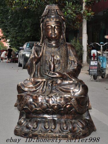 """40""""huge China Buddhism Temple Bronze Kwan-yin Guanyin Bodhisattva Buddha Statue"""
