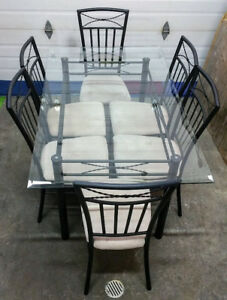 Metal & Glass Dining Table & Chairs
