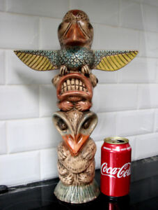 Vintage Retro Tiki Totem Figurine Porcelain Decor Bar