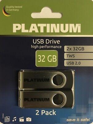 2er Pack Platinum TWS USB-Stick 32 GB  USB 2.0