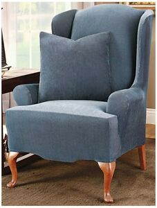 Sure Fit Stretch Stripe Wing Chair Slipcover Blue/Brown, New