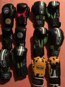 Muay thai kick boxing gloves and shin guards MMA UFC