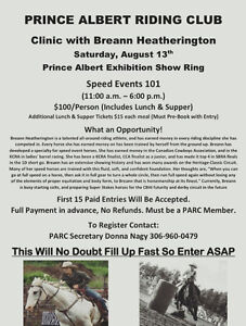 Prince Albert Riding Club is hosting a Speed Event Clinic