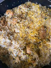 Biryani lamb curry dal and veg(Pakistani and Indian)