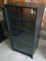 Multi-media stand on wheels with glass doors