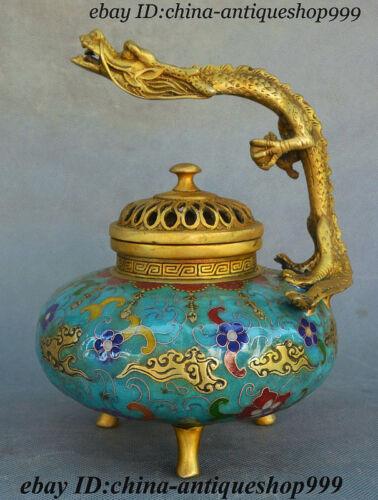 Old Chinese Fengshui Bronze Cloisonne Enamel Dragon Incense Burner Censer 8 inch