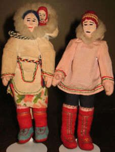 Canadian Inuit Heritage Family: Dad, Mom, Baby Dolls 1920's-30s