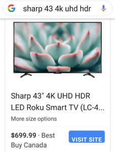 "43"" tv Roku 4k hud  hd for sale"