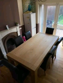 Dinning table and leather chairs x6 brown