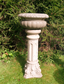 Large stone garden urn water feature fountain bowl on plinth base