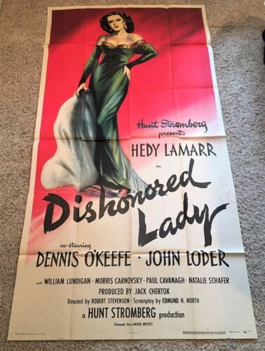 Dishonored Lady Original Three Sheet Movie Poster - Lamarr   *Hollywood Posters*