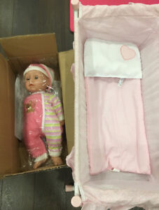 BABY DOLL WITH CRIB & BEDDING