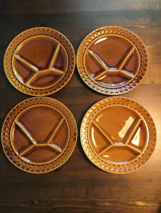 set of four mid century, sectioned plates.
