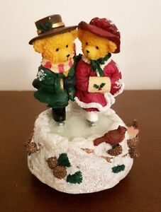 "Avon Lovable Teddies Musical Figurine ""Sarah & Theodore Skating"""