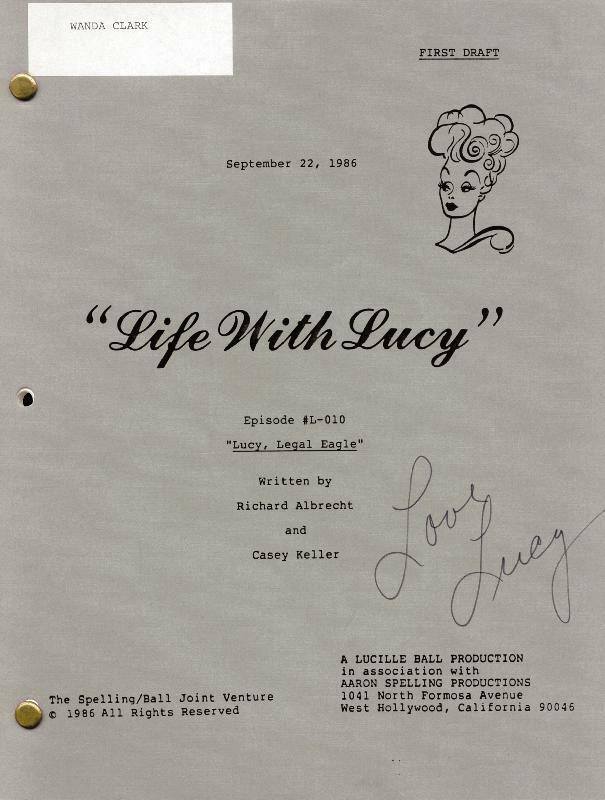 """LUCILLE """"LUCY"""" BALL - SCRIPT SIGNED CIRCA 1986"""