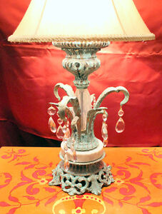 Lampe Francaise, faux finish effects, and crystals, silk shade West Island Greater Montréal image 2