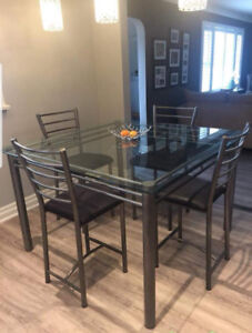 High glass table with chairs