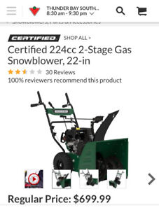 Certified snowblower 224cc 2 stage 22 inch