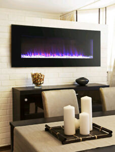 GRIMSBY- Wall Mount Electric Fireplace back light LED glass