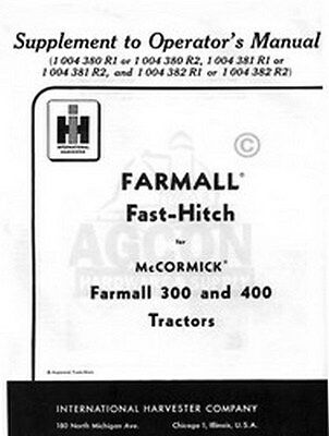 International Farmall 300 350 400 Fast Hitch Manual