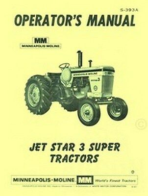 Minneapolis Moline Jet Star 3 Operators Owners Manual