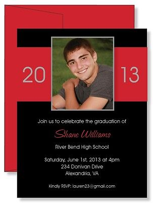 12 Custom Personalized Block Red PHOTO Graduation Announcement Invitations on Rummage