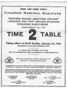 CNR TIME TABLE sunday Jan 1961 (4 pages)