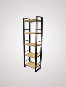 Bibliothèque à 5 tablettes en bois d'acacia massif et métal
