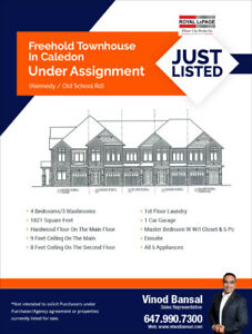 Freehold Townhouse In Caledon 647-990-7300