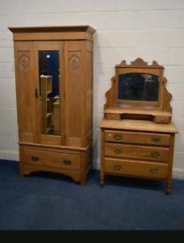 Vintage Satin wood wardrobe and dressing table