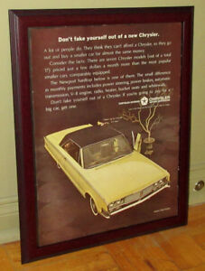 FRAMED 1965 CHRYSLER NEWPORT COUPE AD - ANONCE VINTAGE 60S