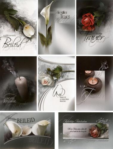 Trauerkarten 8 Motive Grußkarten Kondolenz Trauer Beileid 81-1670