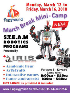 March break miny IFA camp now featuring robotics