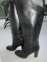 Chunky Heel Black *Genuine Leather* Boot SIZE 8US