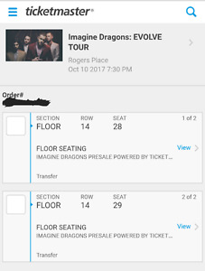 Imagine Dragons floor seats. Row 14, Seats 28-29