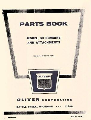 Oliver Model 33 Combine Attachments Parts Book Manual