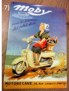 French Moby Scooter Ad Metal Plaque/Plate Sign