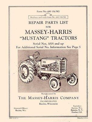 Massey Harris Mustang Tractor Parts Book Manual 1001up