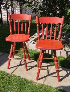 PRICE DROP: 2 Refurbished & Refinished Vintage Bar Chairs