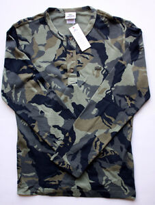 ★ LACOSTE Green Camo Button-Up Shirt ★ NEW tag Men's size 4, 5