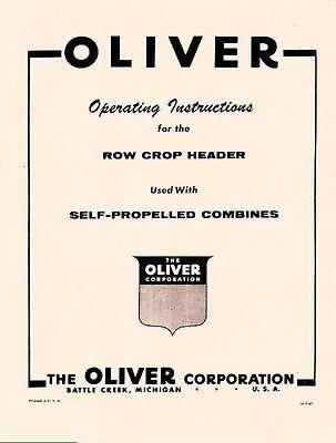 Oliver Row Crop Header Combine Operators Manual