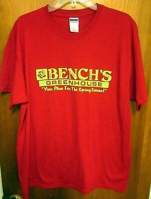 Nursery Bench (BENCH'S GREENHOUSE tee XL nursery Elmore T shirt annual flowers NW Ohio)